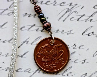 Genuine Coin Bookmark, Norway, 2 Ore with Bird, Grouse,  handmade