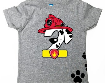 Custom PAW PATROL Inspired birthday shirt MARSHALL Inspired Birthday number Tee Shirt Paw Patrol Birthday Shirt with Name on Back