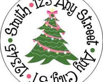Christmas Round Address Labels,  Victorian Christmas Tree Round Labels Stickers for Christmas Cards, Address Labels, Preppy Labels