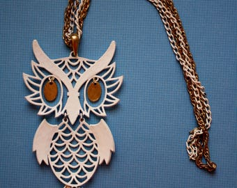 Vintage Owl Pendant Necklace / White Owl / Double Stranded Necklace / 19 Inch Necklace