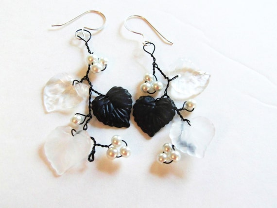 Black & White Wire Wrapped Earrings, Nature Inspired Jewelry, Nature Lover Gifts, Black and White Jewelry, Statement Jewelry, Gifts for Her