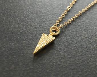 Pave CZ Triangle Necklace, Pave CZ Pendant, Triangle Pendant, Dainty Gold Necklace, Layering Necklace, Delicate Jewelry, Sparkly  1391