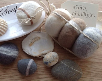 GIFT IDEA 3 Soap pebbles, Hand crafted, felted soaps, beach theme,