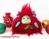 """Christmas plush yeti artist bear, Special Edition red and green monster plush, fantasy creature, Christmas decor, """"Holly"""""""