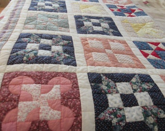 Hand Made -Hand Sewn - Hand Pieced- Hand Stitched Twin Size Quilt Made by Grandma