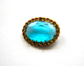 Western Germany Brooch Pin.  Brilliant Ocean Blue Oval Faceted Glass in Rope Twist Frame    1950's