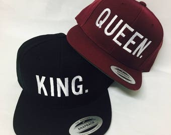 Custom Block King and Queen Snapback Custom Colors Multicolor Snap Back Maroon or Black