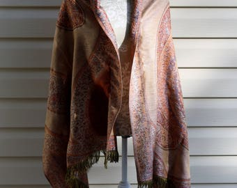 Vintage Pashmina Shawl Scarf Paisley Browns Earth Tones Spring Clothing Ladies Cape Accessory Wool Acrylic