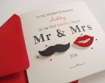Personalised Moustache and Lips Husband/Wife Handmade Valentine's Card First Valentine's as Mr and Mrs