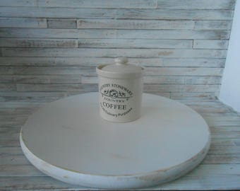 17 Inch White Distressed Lazy Susan -Farmhouse/ Cottage Wood Lazy Susan - Distressed White - French Country-Lazy Susan Server- Lazy Susan