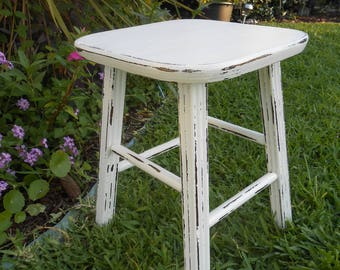 Vintage White Distressed Wood Stool - Farmhouse/Cottage Wooden Stool - Home Decor- Painted Wood Stool- Upcycled Vintage Wood Stool- Stool