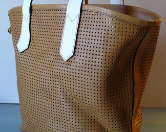 Innue  Caramel Perforated Leather Tote Bag