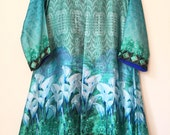 Sale-Digital silk jacket outfit, 3 pc suit, digital silk shalwar kameez, pakistani clothing
