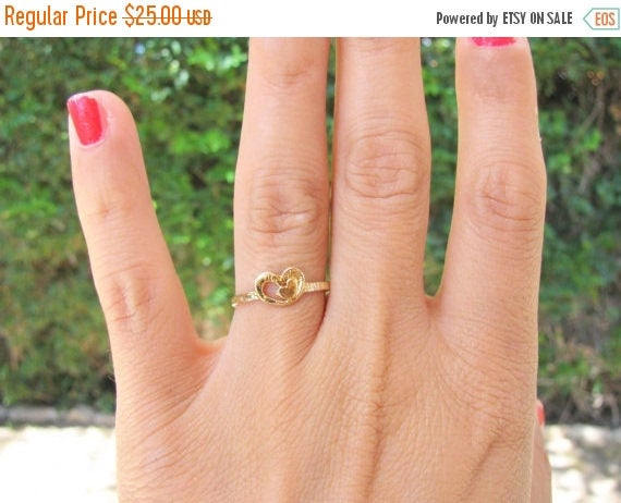 Mothers Day Sale - Heart ring - Mother daughter ring, Mother day jewelry, Mom ring, Promise ring, delicate gold ring, simple ring