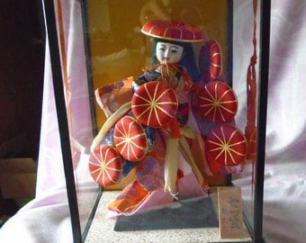 Vintage Japanese Geisha Doll in Glass Display Case, Vintage Gofun Face, Hands and Glass Eyes.