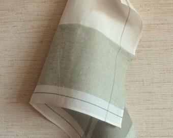 Tea Towel Set Stripes Striped Kitchen Towels Linen Towel Linen Hand Towels Linen Dish Towel Green White Towels set of 2