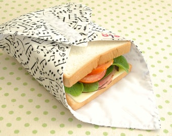 Reusable Sandwich Wrap, Fabric Lunch Wrap, Eco friendly Sandwich Wrap, Cotton Sandwich Wrap,Lunch Place mat, Music Note Black and White