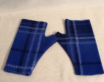 Blue Plaid Hand Warmers/Fingerless Gloves