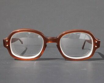 US Military Eyeglasses Square Rectangle Keyhole Thick Brown Frame RX Prescription Eyewear Sunglasses Women Birth Control Glasses