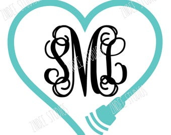 heart ultrasound with space for monogram, cut file, vinyl ready design, SVG file, silhouette file, cricut file, ready to cut