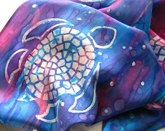 Sea Turtle Silk Scarf. Hand Dyed Blue & Pink, Red, Purple Silk Scarf. Hand Painted Mosaic Turtles. 11x60 inch Habotai Silk Scarf. Gift Idea.