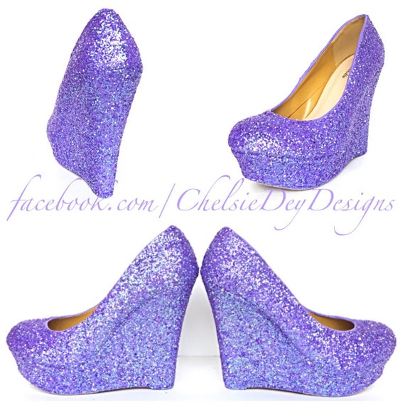 Lilac Glitter Wedges Lavender Purple Sparkly By