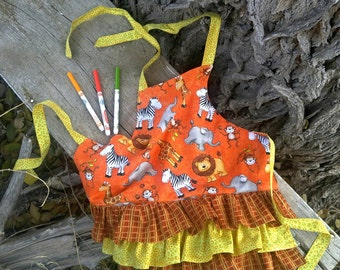 Giraffe/Zebra/Tiger/Elephant/zoo/apron/girl/pockets/ruffles/toddler/handmade/orange