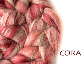 Blended roving - Merino - Flax - Tussah silk - 100g/3.5oz - CORAL