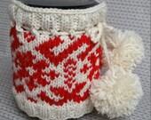 mason jar cozy mason jar cover knitted cozy sleeves coffee tea cozy white red cozy canning jar decoration