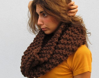 Chunky Knit  Cowl Scarf Chunky Knit Scarf Cowl Knit Scarves Chocolate Brown