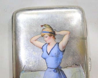 Rare! Vintage Antique Sterling Silver Kitsch Art Cigarette Case Hallmarked