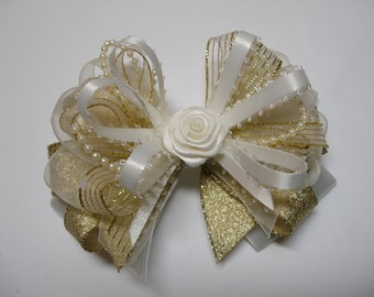OFF WHITE Satin & Glitz Gold Hair Bow 4 inch Holiday Elegant Wedding Flower Girl Pageant Dressy Fancy Special Occassion