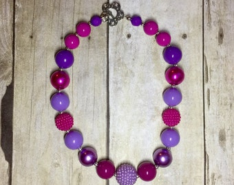 Purple and magenta chunky bead necklace