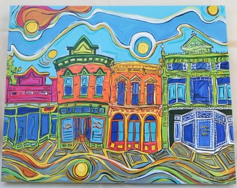 Main Street in New Harmony Indiana - a 16x20 inch Original Acrylic Painting