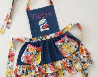 Toddler / Child Apron Personalized Applique Handmade Blue Denim Double Ruffle Accent Fabric with Pockets and Rickrack