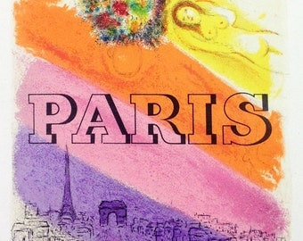 """Chagall 21 """"hagall Paris"""" printed 1959 Mourlot Art in posters"""