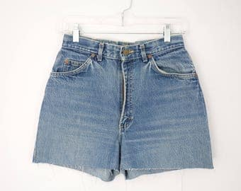 90s High Waisted Cut Off Jean Shorts, Lee Denim Shorts, Waist 28