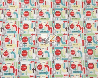 100% Cotton Fabric By Riley Blake - Wheels 2 Stop Signs Gray - By The Yard (FH-2893) Decor Clothing Theme Licensed