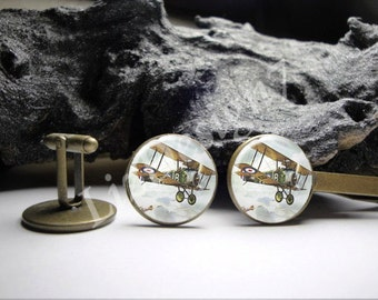 Vintage Airplane Cuff Links 20mm/ Airplane Cufflinks for Him/Men Gift/Gift for Him