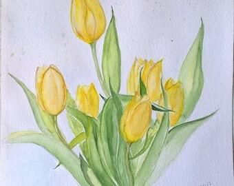 Yellow Tulips. Original Watercolor Paiting. Watercolor Wall Art.