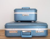 Blue Vintage Hard Shell JCPenney Suitcase/Train Case/ Luggage Set