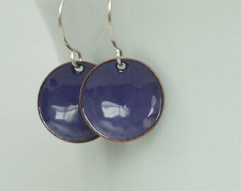 Purple Enamel Disc Earrings - Grape Purple - Enamel Jewelry