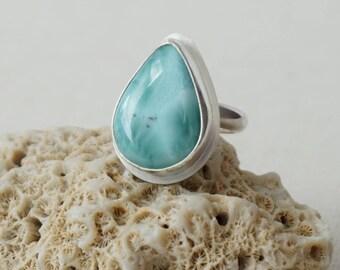 Larimar Teardrop Ring, Size 8 - Larimar Jewelry, Cocktail Ring