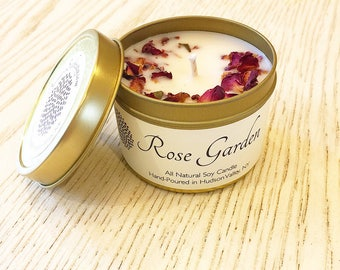 Soy Candle, Travel Gold Tin - Hand Poured Candle / Peppermint Bark/ Maple Apple Bourbon / Winter Wonderland / Fireside /Holiday Candle