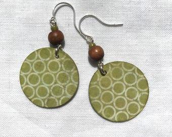 Modern Handmade Sterling Silver Paper Dangle Green Circles Print Earrings