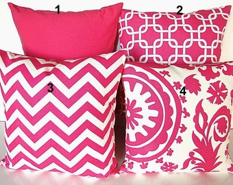 Sale PINK PILLOW COVER Pink Decorative Throw Pillows Pink Chevron Pillow Pick any size & Pattern 16x16 18 20 Throw Pillow Covers