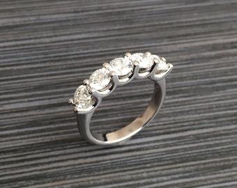 14K white gold 2.70 carat U shaped, shared prong Diamond band