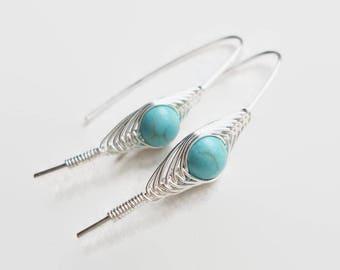 Turquoise silver Earrings, Wire Wrapped Earrings, herringbone, December Birthstone