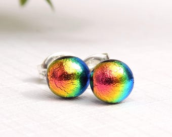 Rainbow Glass Stud Earrings - Fused Glass Jewelry - Tiny Dichroic Glass Post Earrings on 925 Sterling Silver