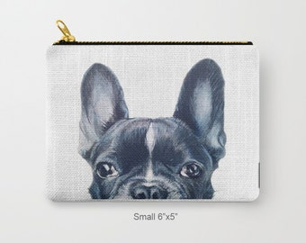 Pouch original Dog illustration design French Bulldog, print on both sides, carry pouch